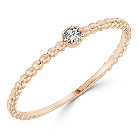 Petite Ultra-Thin 0.03ct TDW Beaded Diamond Accent Stackable Ring 10k gold by Auriya