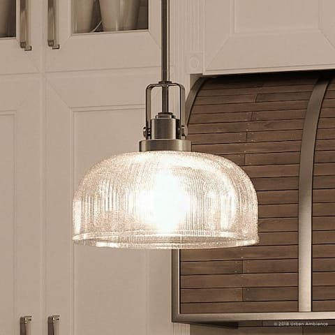 """Luxury Industrial Chic Pendant Light, 9""""H x 10.5""""W, with Modern Farmhouse Style, Aged Nickel Finish by Urban Ambiance - 10.5"""