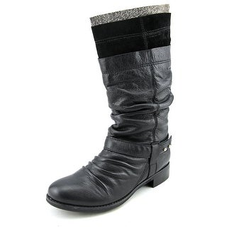 All Black Layered Boot 2 Women Round Toe Leather Mid Calf Boot