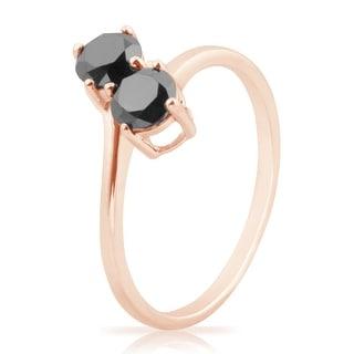 Attractive 1.00 Carat Round Brilliant Cut Black Color Natural Diamond Two Stone Ring