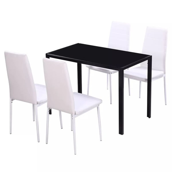 White And Black Dining Set: Shop VidaXL Five Piece Dining Table And Chair Set Black