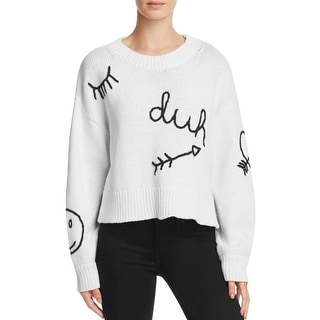 Wildfox Couture Womens Pullover Sweater Embroidered Boatneck