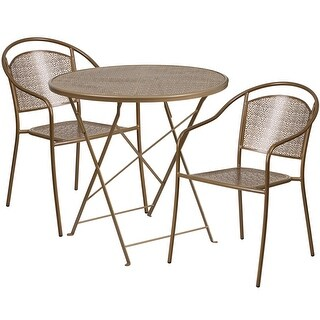 Westbury 3pcs Round 30'' Gold Steel Folding Table w/2 Round Back Chairs