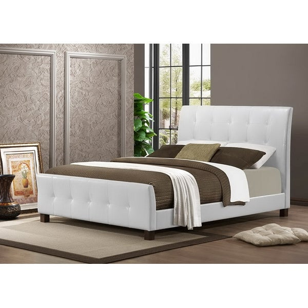 Amara White Faux Leather Platform Bed W Upholstered Headboard Footboard Full