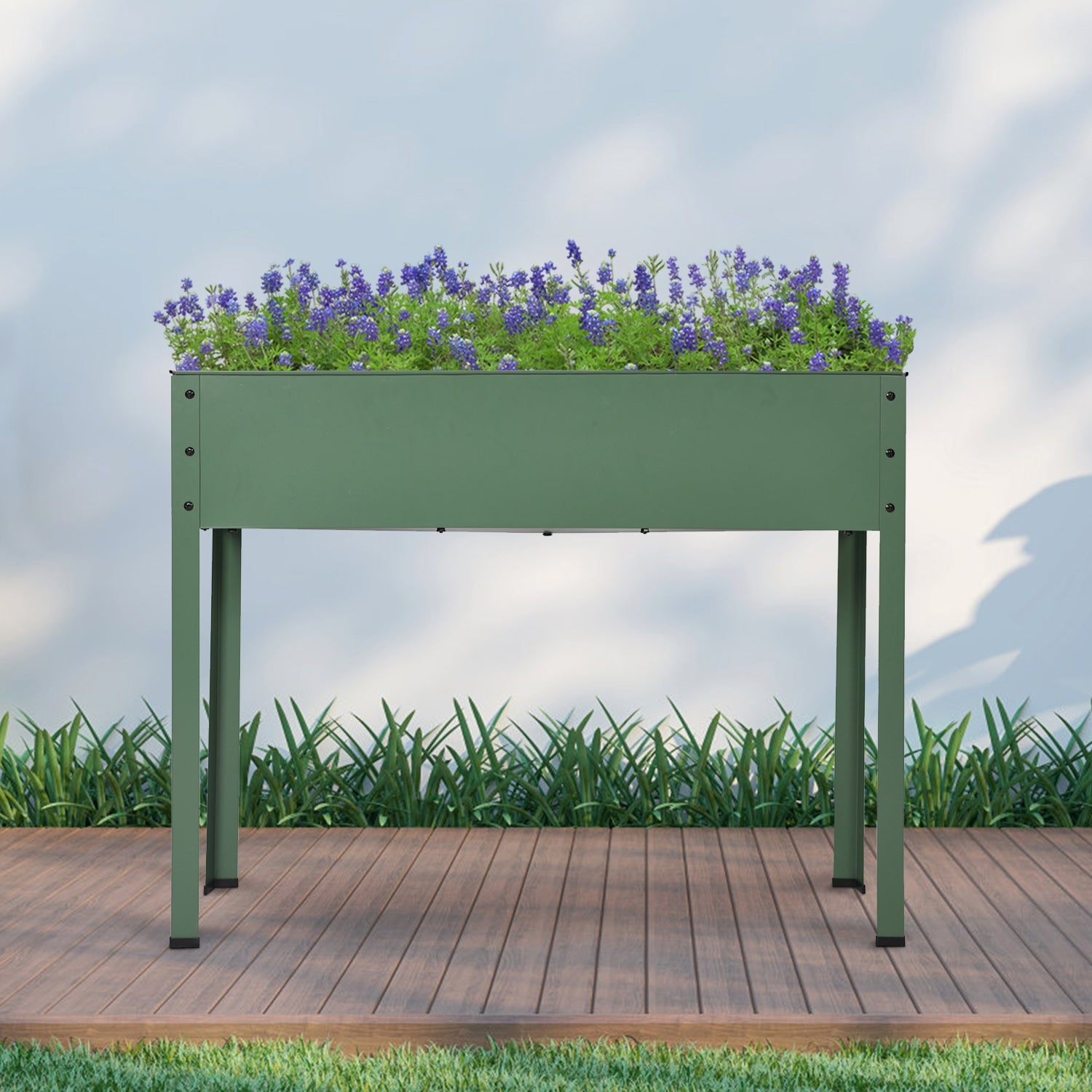 Mois Galvanized Metal Raised Garden Bed Planter Box By Havenside Home Overstock 30551311 Green1