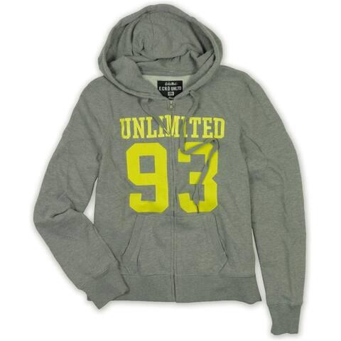 Ecko Unltd. Womens 93 Zip Front Hoodie Sweatshirt, Grey, Small