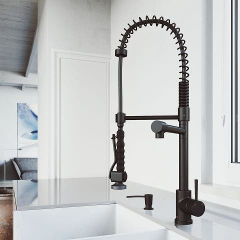 VIGO Zurich Matte Black Kitchen Faucet with Matching Soap Dispenser