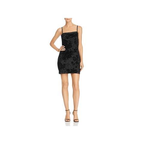 Parker Womens Formal Dress Floral Print Lace Overlay - Black - 0