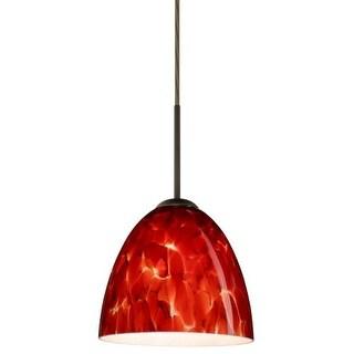 Besa Lighting 1JT-447041 Vila 1 Light Cord-Hung Mini Pendant with Garnet Glass Shade