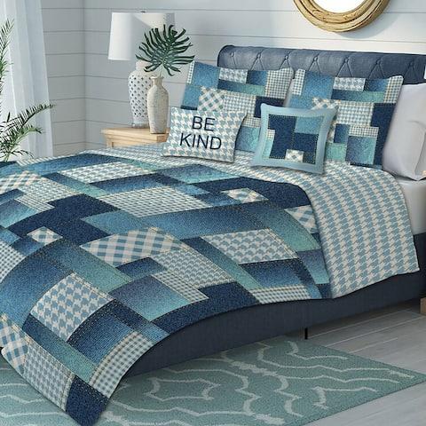 Premius Apollo Oversized 5-Piece Reversible Quilt Set, Blue