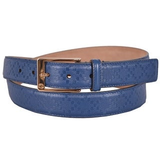 New Gucci Men's 345658 Cove Blue Diamante Leather Belt 44 110