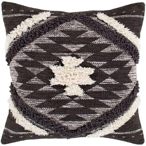 "Katherine Black & Cream Boho Shag Throw Pillow Cover (18"" x 18"")"
