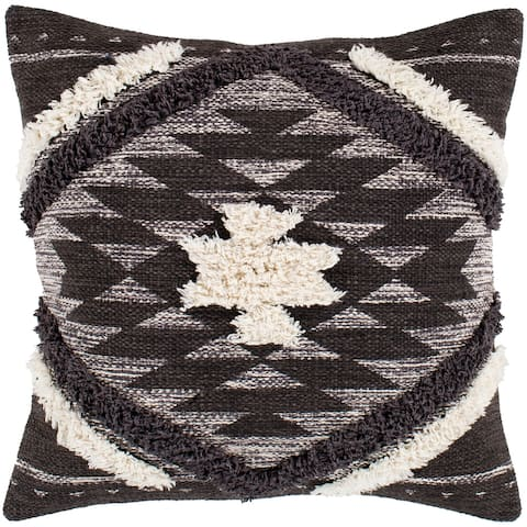 "Katherine Black & Cream Boho Shag Throw Pillow Cover (22"" x 22"")"