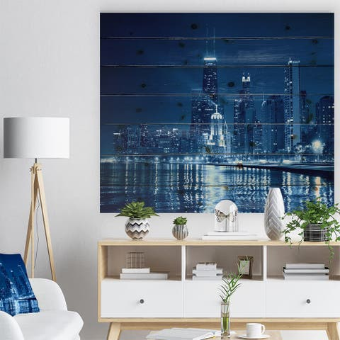 Designart 'Blue Chicago Skyline Night' Cityscape Photo Print on Natural Pine Wood - Blue