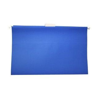 School Smart Mediumweight Manila Stock 1/5 Cut Colored Hanging File Folder, Legal, Blue, Pack of 25