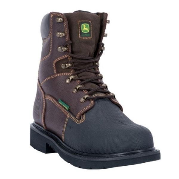 "John Deere Work Boot Men 8"" FR Steel Toe MET Guard Lacer Brown"