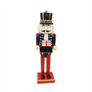 """14"""" Decorative Wooden Red, Blue and Gold Nutcracker with Christmas Countdown Sign"""