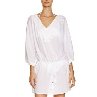 ViX Paula Hermanny Womens Embroidered V-Neck Dress Swim Cover-Up - S
