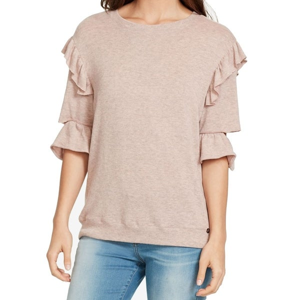 William Rast Women Small Ruffled Cutout-Sleeve Sweater