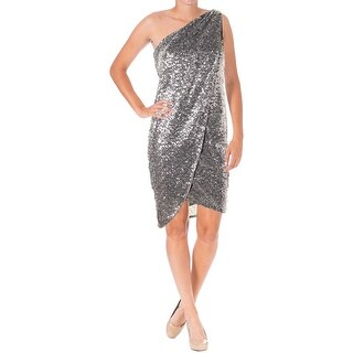 Aqua Womens Cocktail Dress Sequined One Shoulder