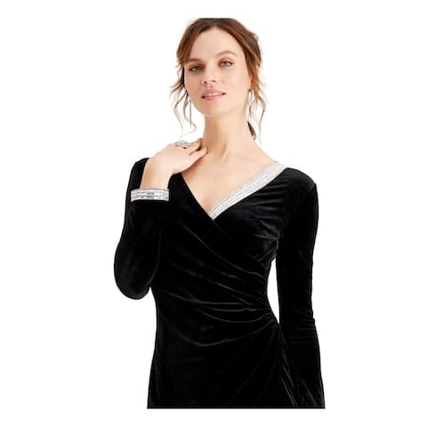 MSK Womens Black Long Sleeve Short Wrap Dress Formal Dress Size L