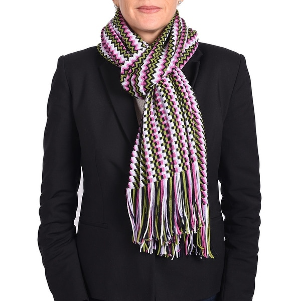 Missoni Women's Classic Zig Zag Knit Scarf Green, Pink and Multi-colors