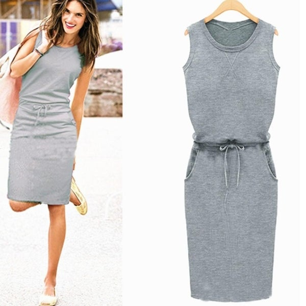 Women's Fashion Dress Slim Casual Sleeveless Round Neck Waist Lacing Knee Length