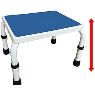 AdjustaStep (tm) Height Adjustable Step Stool All Steel Construction with Anti-Slip Foot Pads and Platform. Blue/White