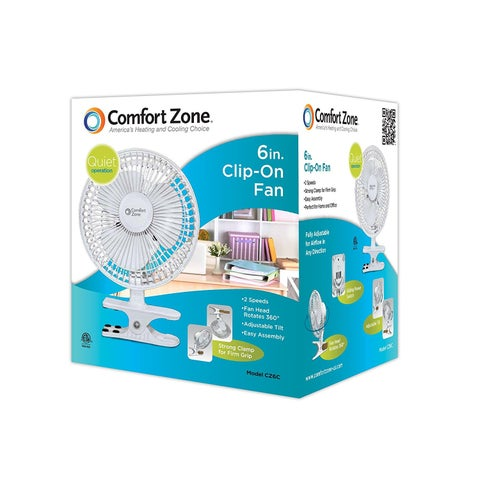 Comfort Zone 6 Inch Fan - Great for Table Tops, Night Stands & Other Places Light Is Needed