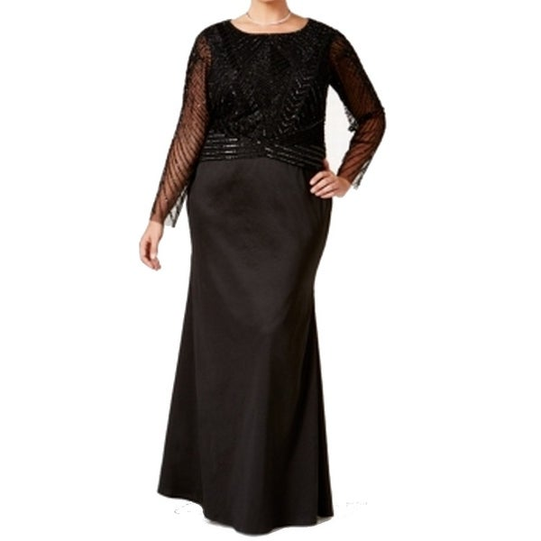 7c319e25c8 Adrianna Papell NEW Black Womens Size 16W Plus Embellished Sheath Gown