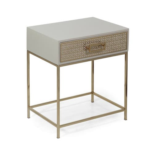 """Reser Modern Glam Handcrafted Scroll Mesh Nightstand by Christopher Knight Home - 18.00"""" L x 13.75"""" W x 21.00"""" H"""
