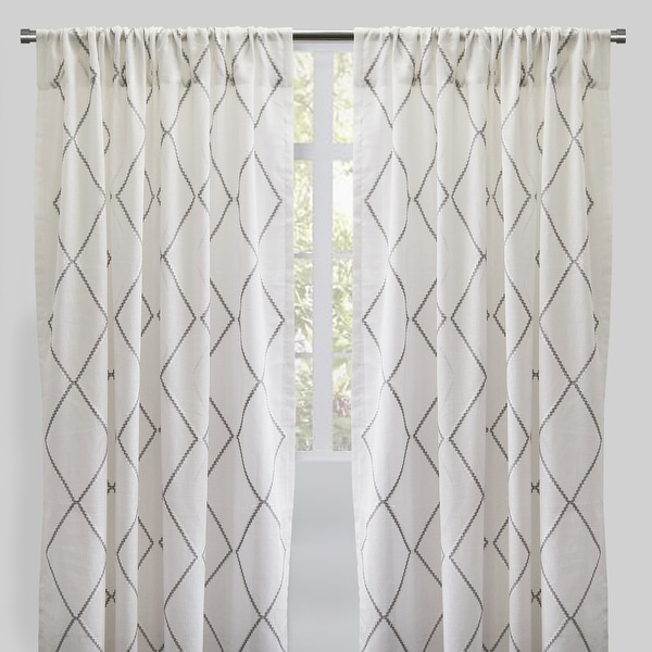 """Rodeo Home Rod Pocket Katie Embroidered Sheer Curtains (Set of 2) - 54"""" x 96"""" - 54"""" x 96"""". Opens flyout."""