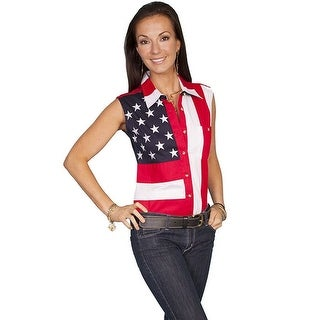Scully Western Shirt Womens Flag Stars Stripes Sleeveless