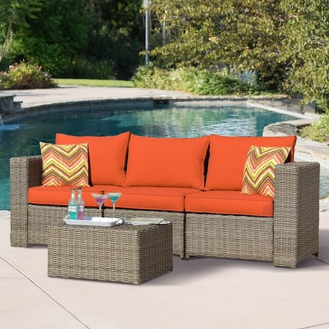 8 Pieces Outdoor furniture rattan Sofa set with coffee table