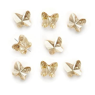 Swarovski Crystal, 5754 Butterfly Beads 6mm, 8 Pieces, Crystal Golden Shadow