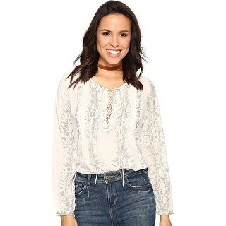 Lucky Brand Pintucked Lace Up Long Sleeve Top Blouse