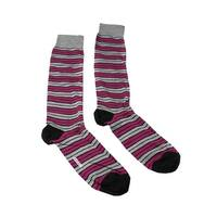 Missoni GM00CMU5685 0002 Gray/Fuschia Calf Length Socks - Grey