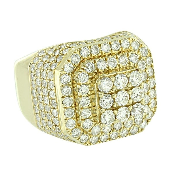 Mens 14k Yellow Gold XL Round Real Diamond Pinky Ring 3.65 Ct Wedding Engagement
