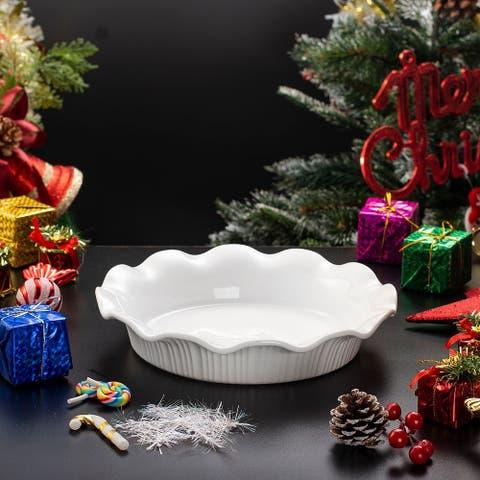 Round Porcelain Nonstick Fluted Quiche Baking Dish