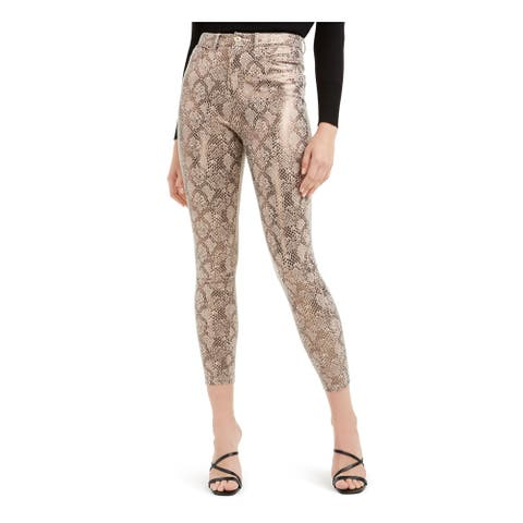 GUESS Womens Gold Zippered Snake Print Skinny Pants Size 2