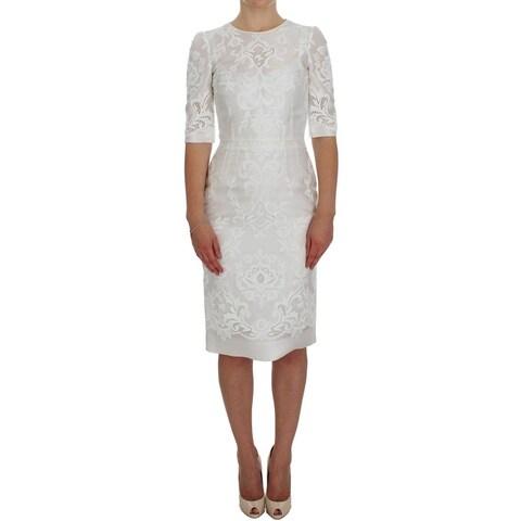 Dolce & Gabbana White Ricamo Cutout Above Knees Dress - it38-xs