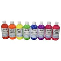Sax Liquid Washable Watercolor Paints, 8 Ounces, Assorted Fluorescent Colors, Set of 8