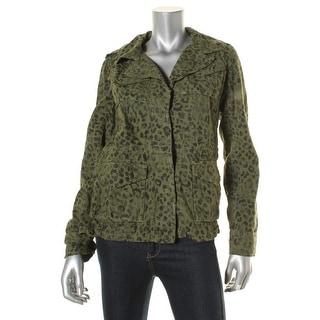 Sundry Womens Military Jacket Cotton Cheetah Print