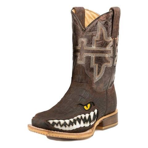 Tin Haul Western Boots Boy Cowboy Swamp Chmp Brown
