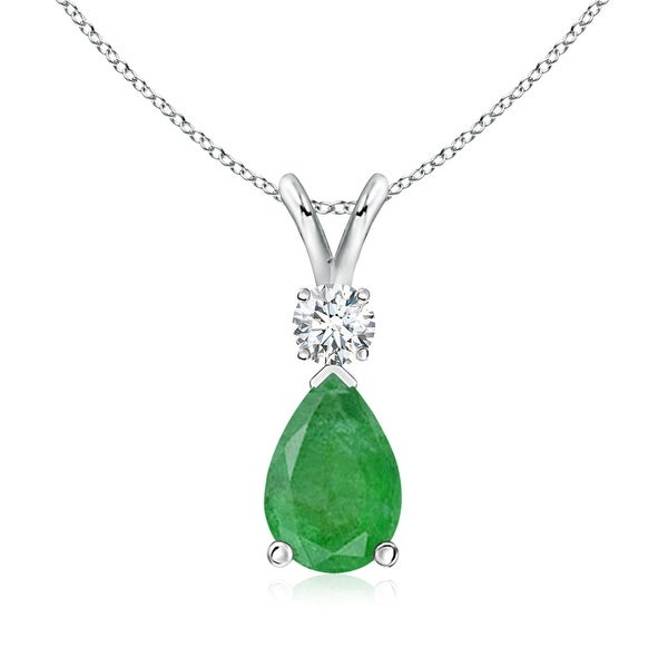 Angara Pear Shaped Emerald Teardrop Necklace in White Gold hG7u3hJb8c