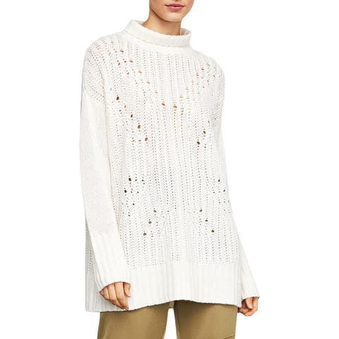 BCBG Max Azria Womens Tunic Sweater Sequined Turtleneck