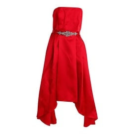 Betsy & Adam Womens Satin Trim Strapless Formal Dress - 10