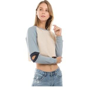 Ontwelfth Women's Blue Cut-Out Raglan Sleeve Short Length Trendy Top