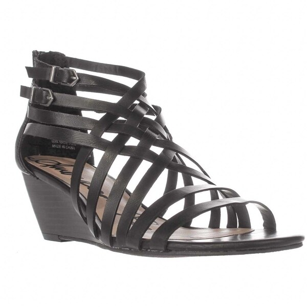 AR35 Mariel Strappy Wedge Sandals, Black