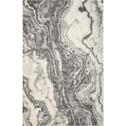Strick & Bolton Rizzetta Ivory/ Grey Marbled Area Rug